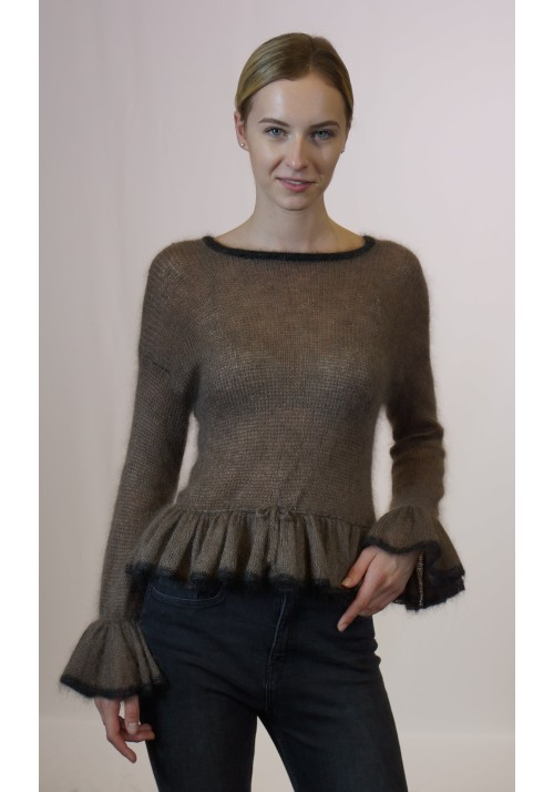 Ruffle sweater, Mohair sweater, Silk blouse, Evening sweater, Mohair pullover, Luxury sweater, Hand knit, Women knitwear