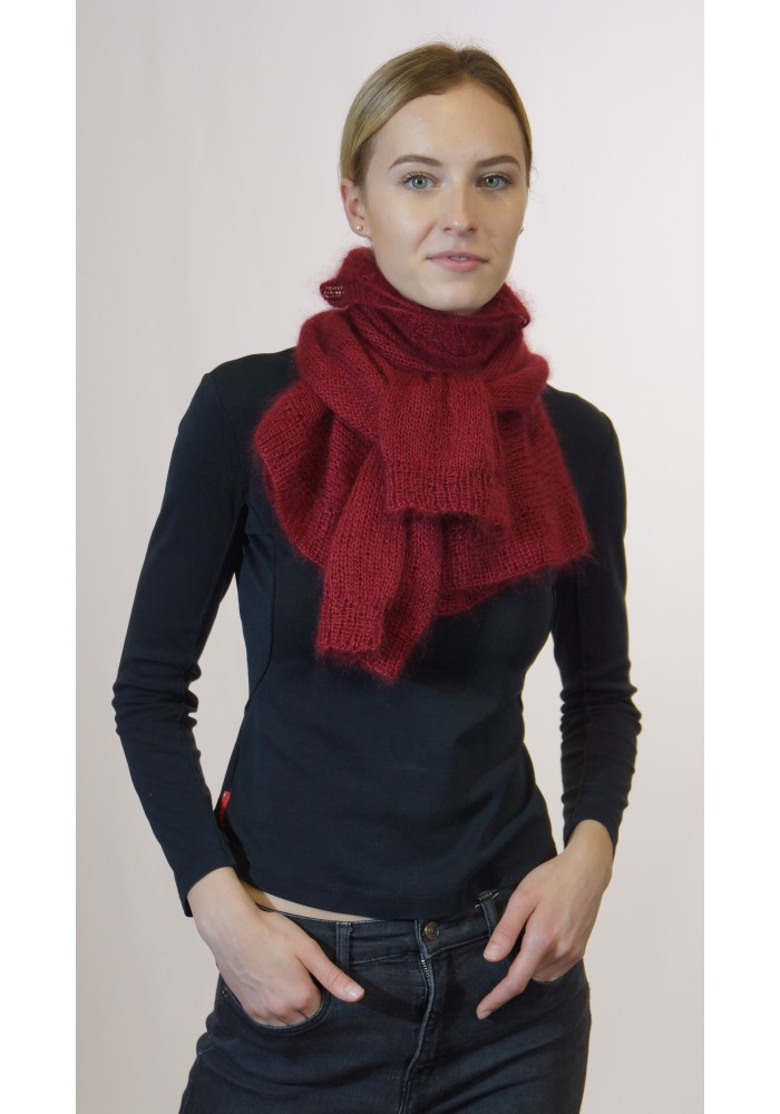 Crop Red Mohair Silk Sweater Scarf Knitted Ribbon
