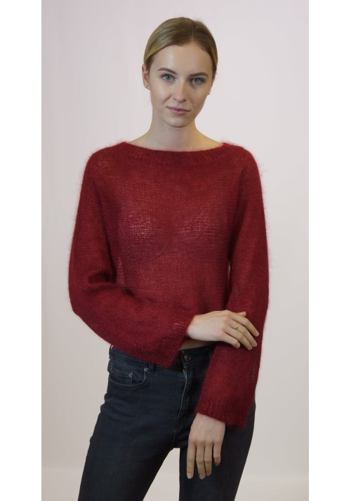 Shrug crop sweater top, Short cover up, Sweater scarf, Red knit poncho, Women handknit poncho, Mohair silk pullover