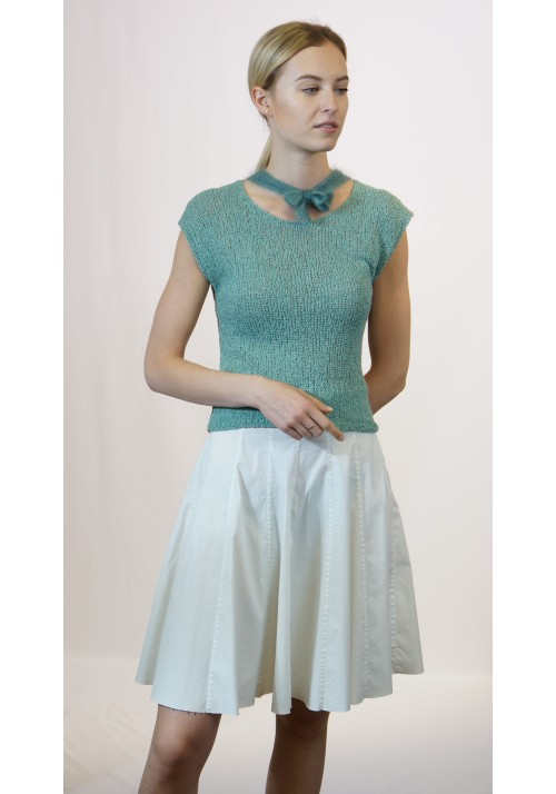 Sleeveless Pussy Bow Silk Wool Blend Top Knitted Ribbon