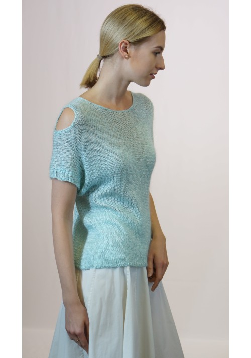 Off Shoulder Silk Mohair Blouse Knitted Ribbon