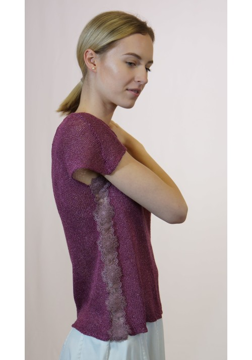 Crop Lace Detailed Silk Blouse  Knitted Ribbon