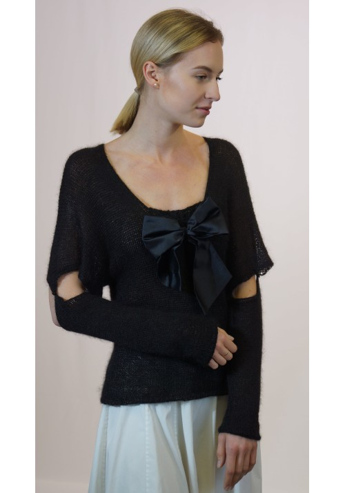Black formal blouse with bow