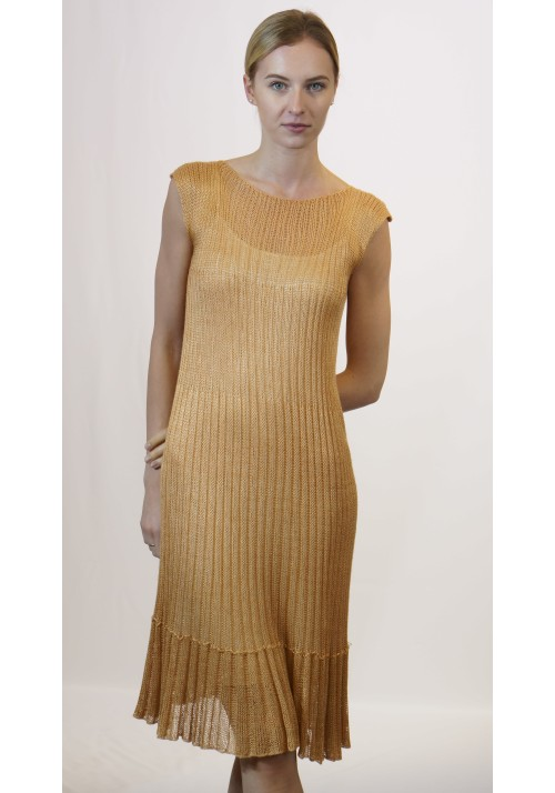 Little dress, Knit dress, Pleated dress, Formal dress, Silk dress, Summer dress, Sleeveles dress, Bodycon dress, Gold knitwear