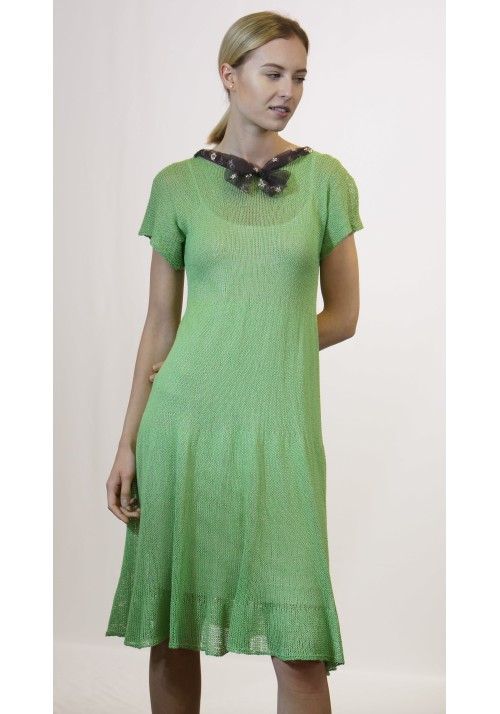 Silk Dress with Lace Bow Knitted Ribbon
