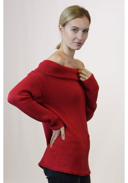Off-Shoulder Oversize Jumper Knitted Ribbon