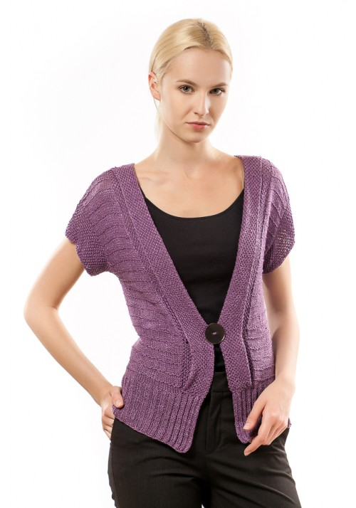 Knitted Ribbon Violet Summer Cardigan