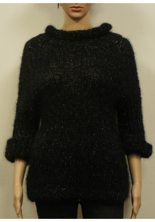 Black chunky sweater, Mohair camel sweater, Sweater women's cozy, High neckline, Hand knit pullover