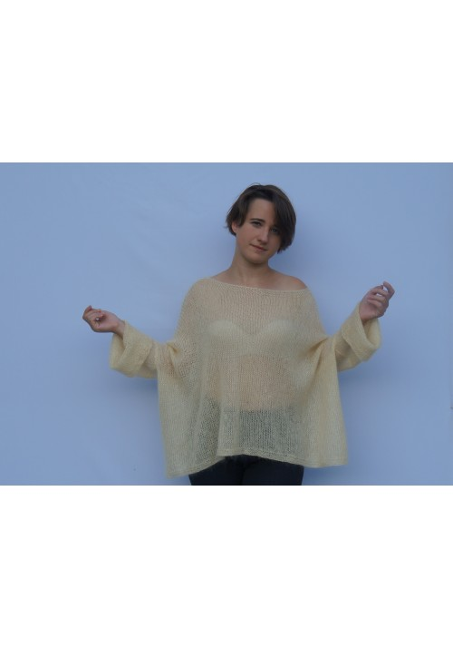 Oversized yellow mohair silk sweater poncho
