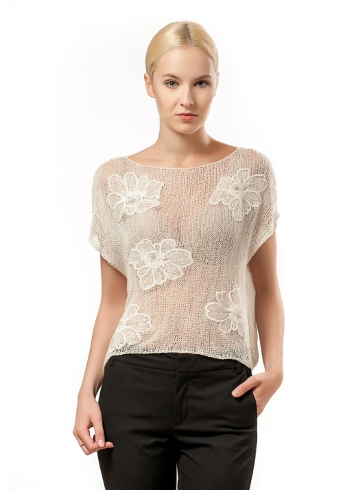 Silk Blouse with Guipure Lace in White Knitted Ribbon