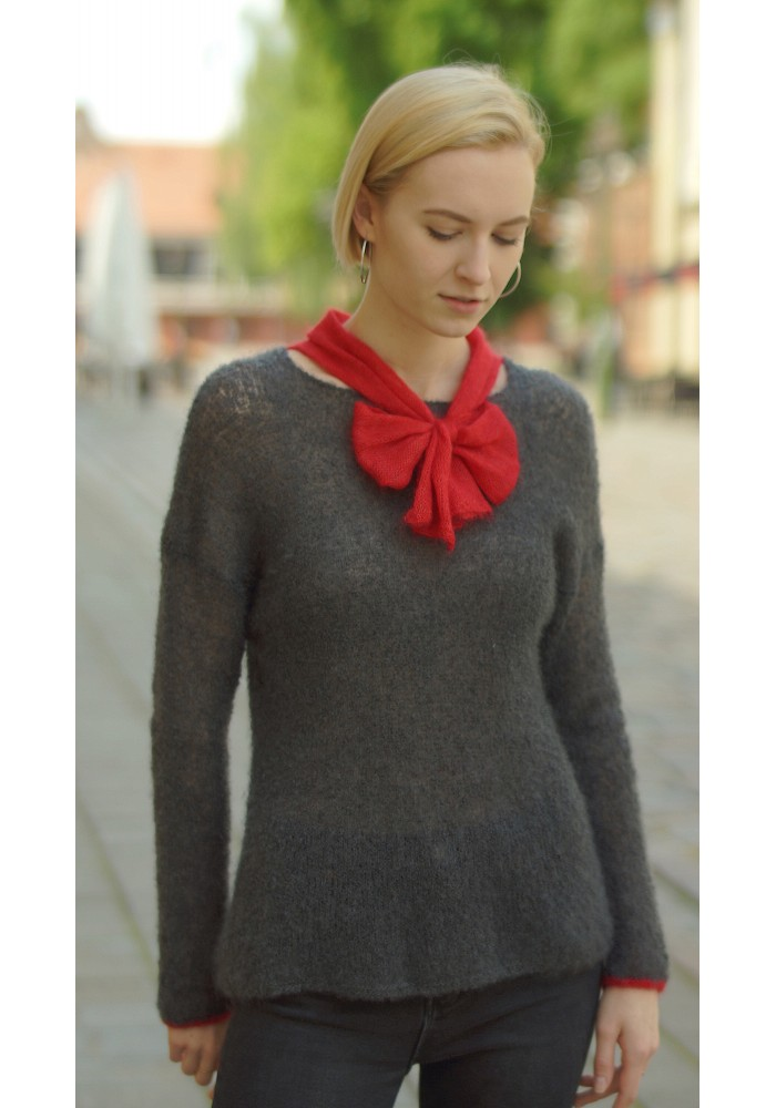 Knit Mohair and Silk Sweater with Bow Knitted Ribbon