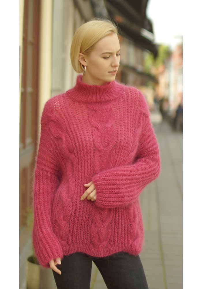Knitted Ribbon Turtleneck Cable Knit Wool Mohair Sweater