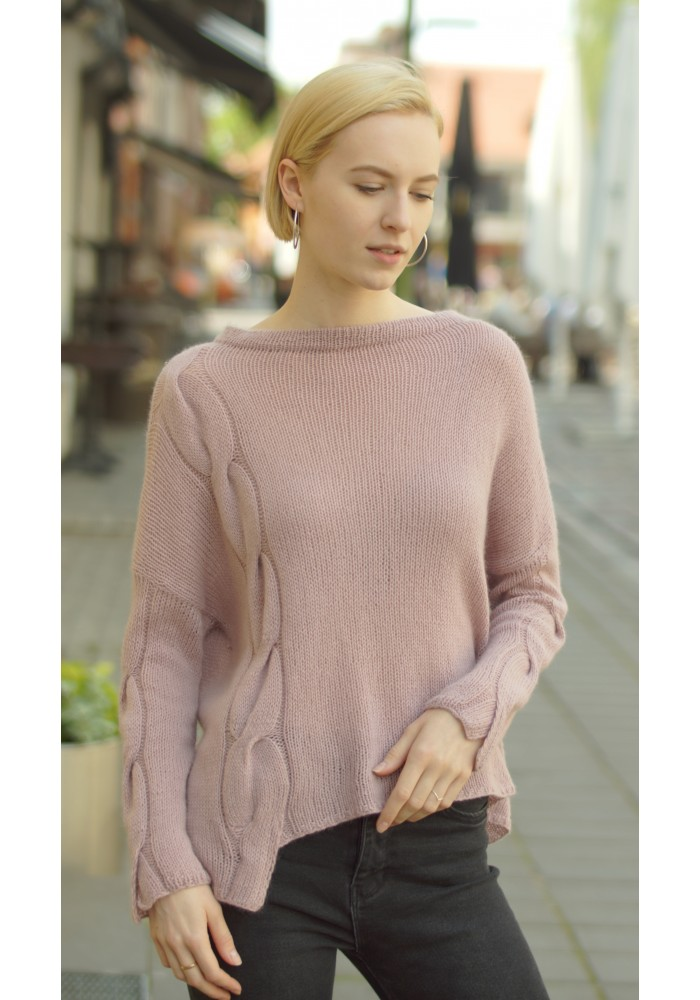 Asymmetric Cashmere Jumper Alisa in Pink Knitted Ribbon