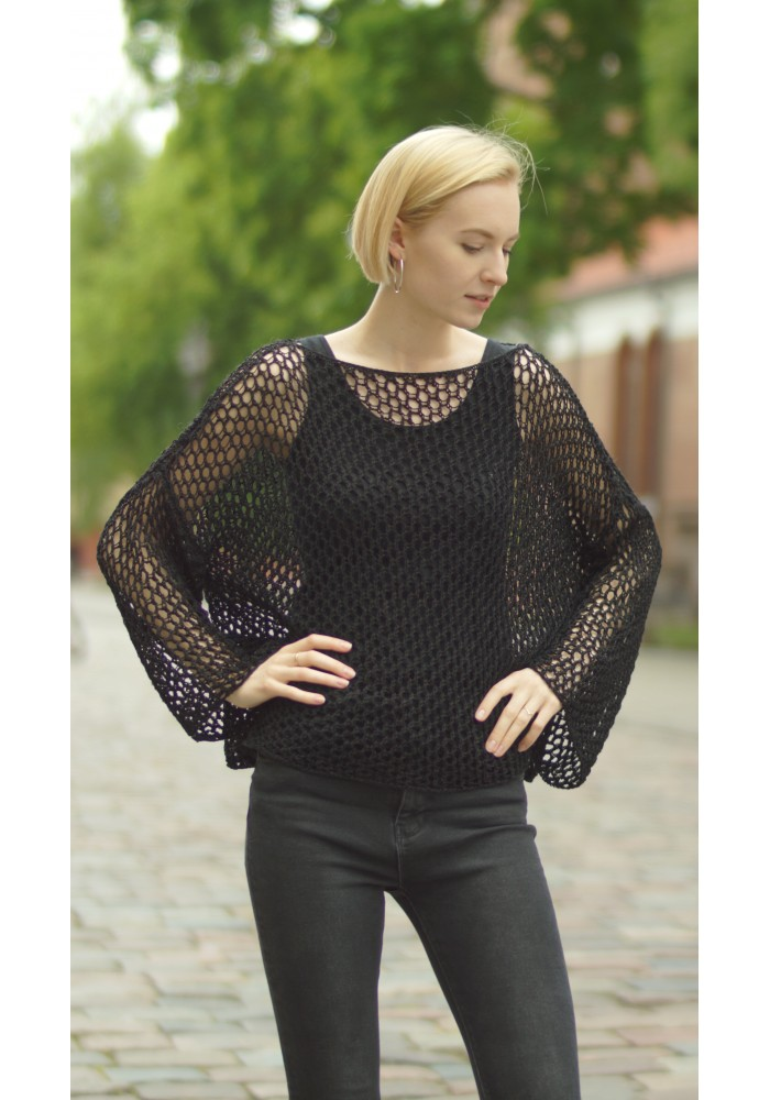 Wide Loose Black Openwork Cotton Sweater