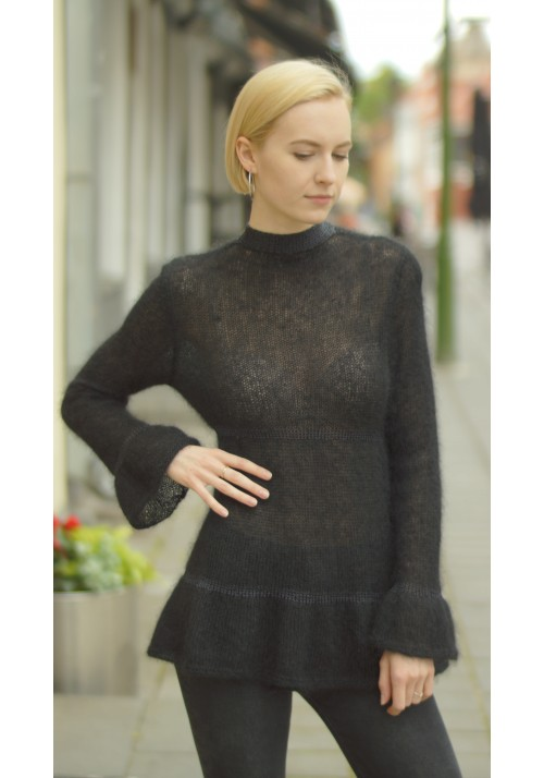 Black Flared Mohair Jumper with Open Back Knitted Ribbon