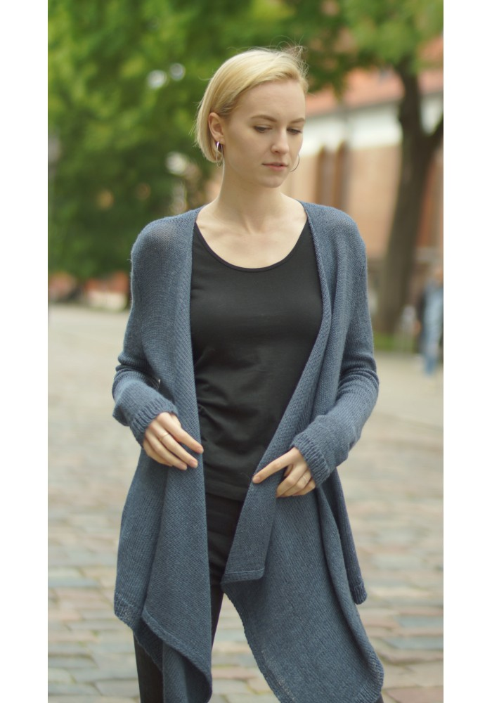 Draped-Front Oversized Wool Cardigan Knitted Ribbon