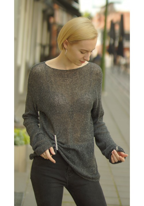 Loose  Jumper with Extra Long Sleeves Knitted Ribbon
