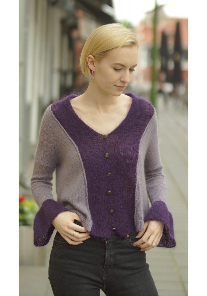 Cashmere Blend Sweater with Ruffled Cuff Knitted Ribbon