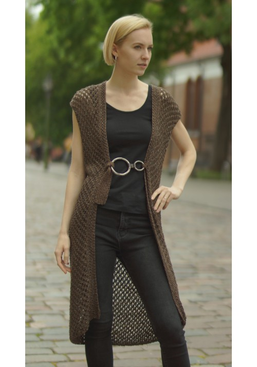 Hand Knit Long Open Silk Sleeveless Cardigan Knitted Ribbon