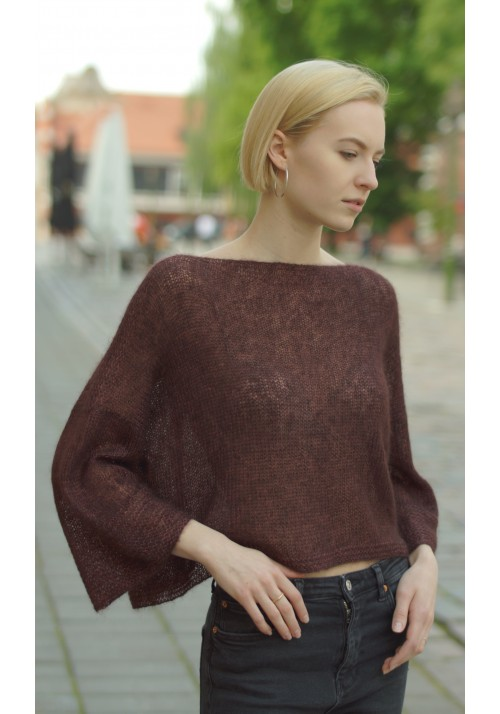 Knitted Ribbon Cropped Knit Mohair Silk Sweater Poncho