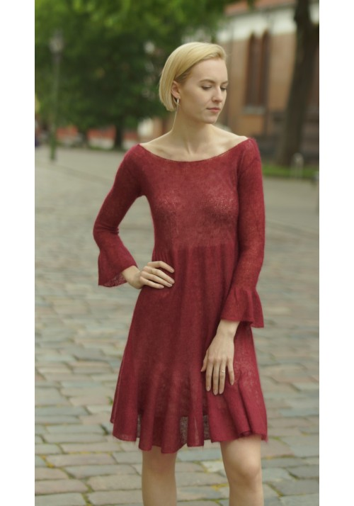 Long Sleeves Midi  Tango Dress Knitted Ribbon