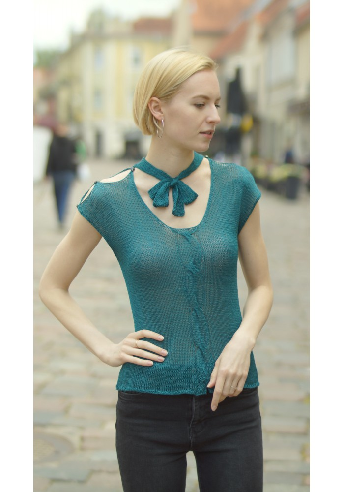 Silk Blouse with Tied Bow Knitted Ribbon
