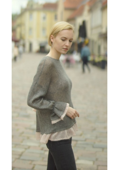 Ruffled Silk Mohair Sweater with Bow Knitted Ribbon
