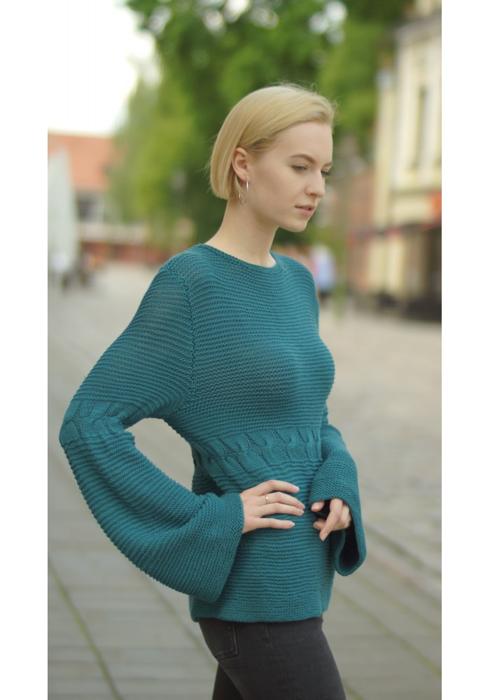 Crew Neck Long Bell Sleeves Sweater Knitted Ribbon