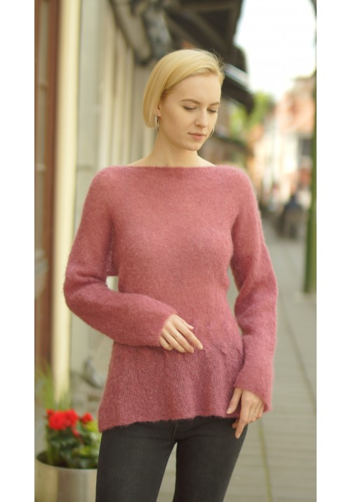 Mohair Silk Jumper with Cable Knitted Ribbon