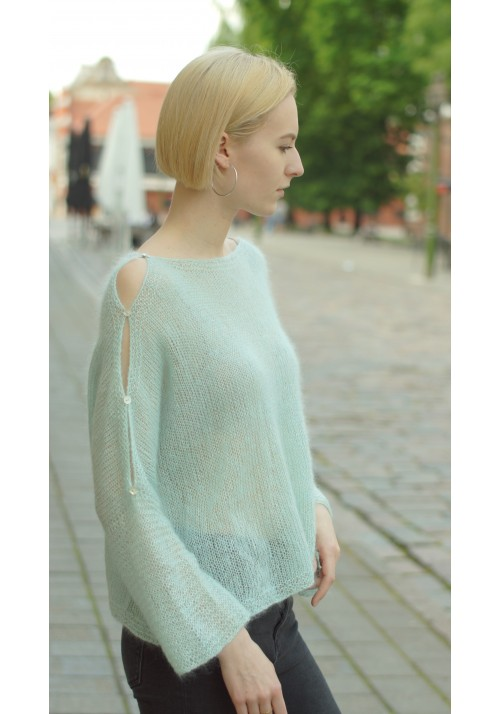 Off-Shoulder Silk Mohair Sweater Knitted Ribbon