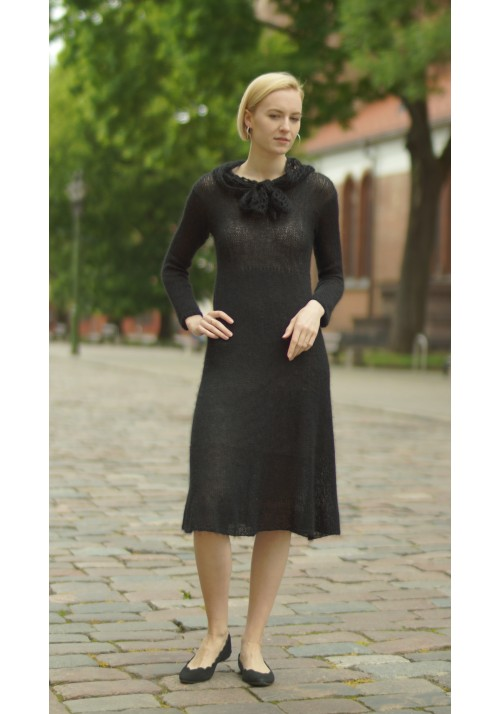 Small Black Midi Mohair Dress Knitted Ribbon