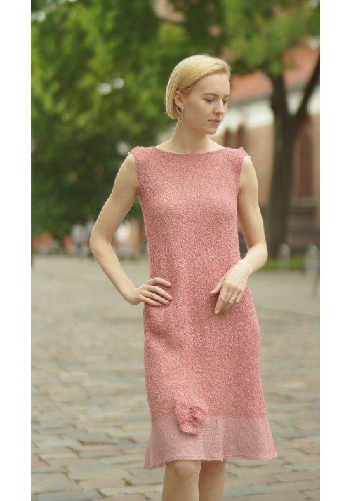 Knitted Ribbon Cotton blend knit dress