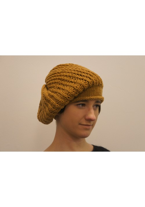 Wollen Mustard Color Hat Knitted Ribbon