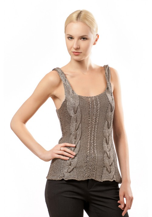Strappy Silver Metallic Disco Top Knitted Ribbon