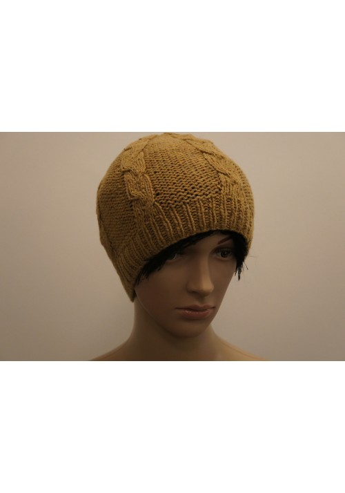 Hat with cable Knitted Ribbon