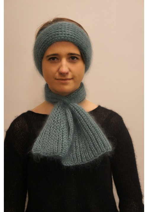 Hand Made Silk Mohair Scarf Hat Knitted Ribbon
