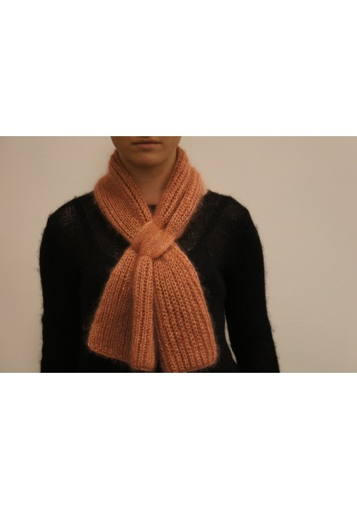 Hand Knit Mohair Scarf Knitted Ribbon