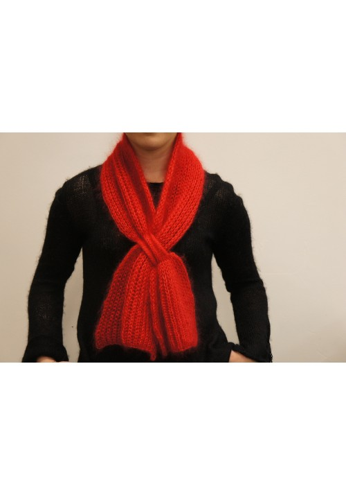Red Silk Mohair Scarf Knitted Ribbon