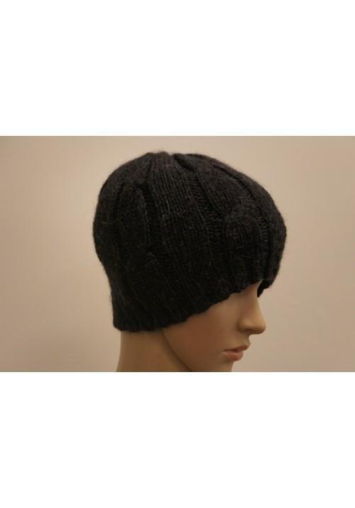 Cable Knit Black Alpaca Hat Knitted Ribbon
