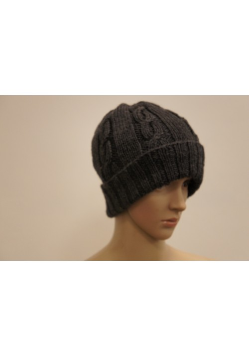 Woolen Hat with Cable Knitted Ribbon