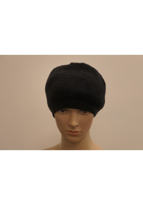 Hand Made Black Beret Hat Knitted Ribbon
