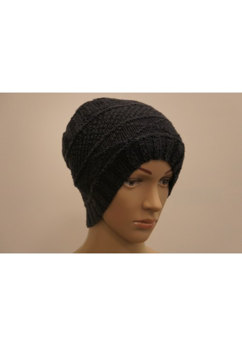 Knit Hat from Wool Knitted Ribbon