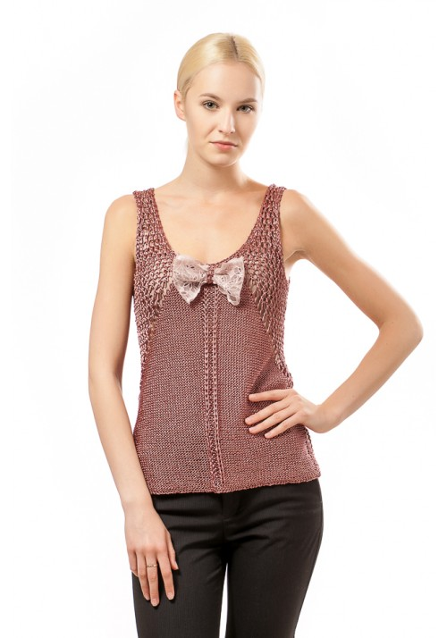 Sexy Open Knit Sleeveless Top Knitted Ribbon