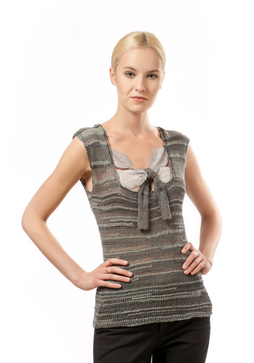 Sleeveless Tank Top Blouse with Lace Knitted Ribbon