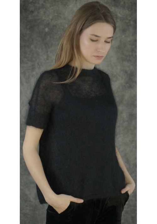 Black Silk Short Sleeves Top Knitted Ribbon