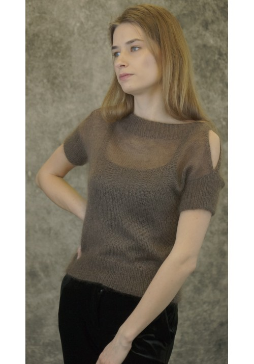 Slit Sleeves Beige Silk Top Knitted Ribbon